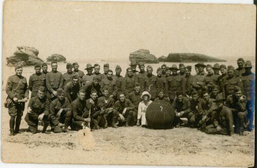 WWI Pair RPPCs, IDd YMCA Secretary Beach Trip, Marines, Baseball, France