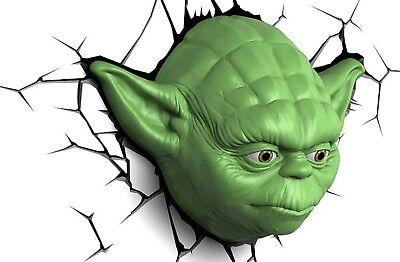 Star Wars YODA Head 3D Deco Light 3DlightFX Cordless Wall LED Lamp baby force ()
