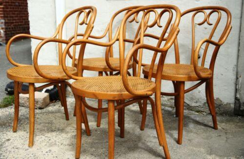 Radomsko Style Bentwood Cane Mid Century Thonet Style Arm Chair Set 4