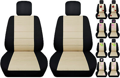 VW beetle front car seat covers black/beige w/daisy&ladybug,hibiscus,peace sign. (Black Peace Seat Covers)