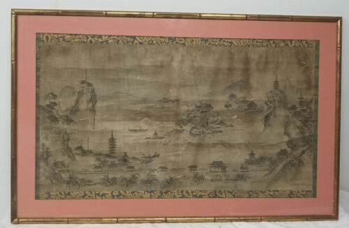 Antique Chinese Scroll Painting Landscape Paper Signed Seal