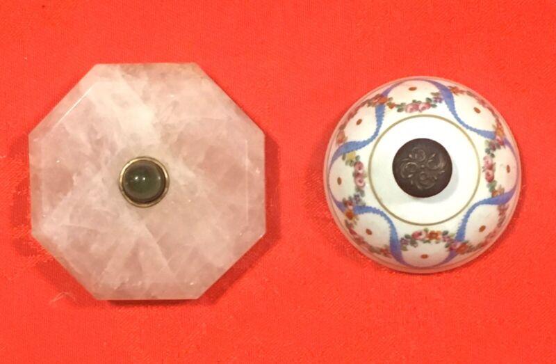 Rare Antique Lot Victorian Antique Doorbells Hand-Painted  Porcelain Rose Quartz