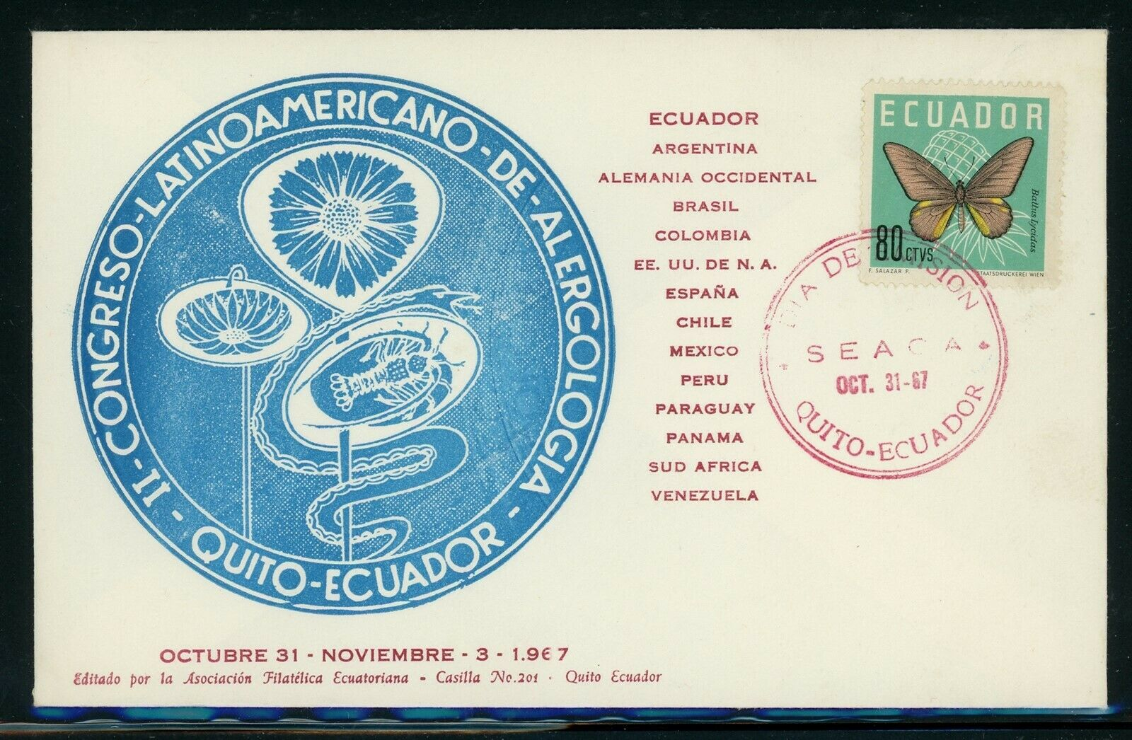 ECUADOR Butterflies Postal History Specialized Scott 683 Allergy Conference  - $1.10