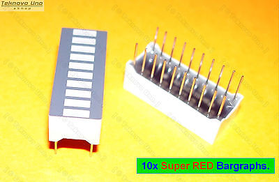 10x LED Super RED Bar Graph Array 10-Segs (for VU Meter Arduino Bargraph) - USA Bar Graph Meter