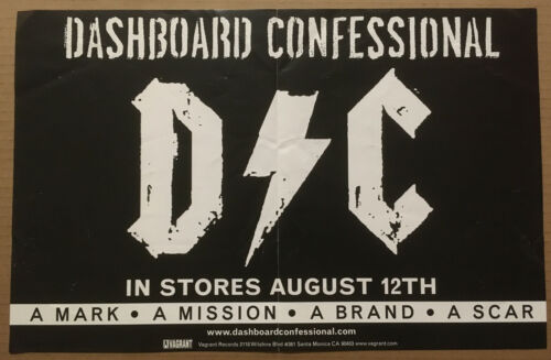 DASHBOARD CONFESSIONAL Rare 2003 PROMO POSTER BANNER w/ DATE for Mark CD 17x11