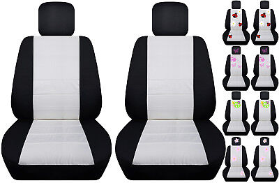 VW beetle front car seat covers black/white w/daisy&ladybug,hibiscus,peace sign. (Black Peace Seat Covers)