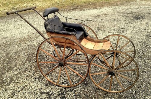 Antique Push Carriage Buggy Pram with Wooden Wheels 1870 Era