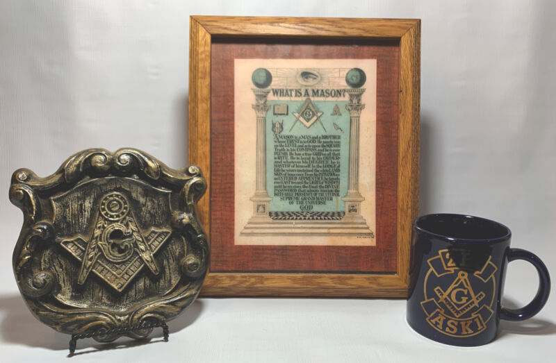 Masonic Plaque Mug Picture Lot What is A Mason Creed Freemasonry Antique VNTG .