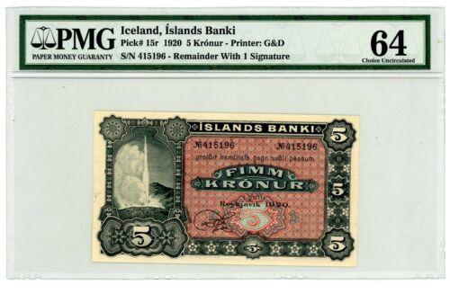Iceland ... P-15r ... 5 Kronur ... 1920 ... Choice *UNC* PMG 64