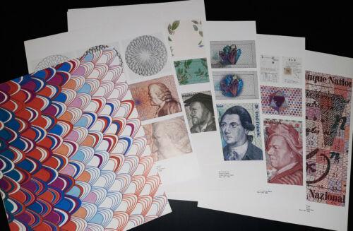 16 pages of Design Studies R. Pfund, Switzerland Banknotes reserve series 1980s