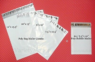 50 Poly Bag Poly Bubble Combo 10 Each 12x15.5 10x13 9x12 7.5x10.5 0 6.5x10