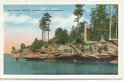 Drill Point  Apostle Islands  Lake Superior  Wisconsin  1930S  Postcard