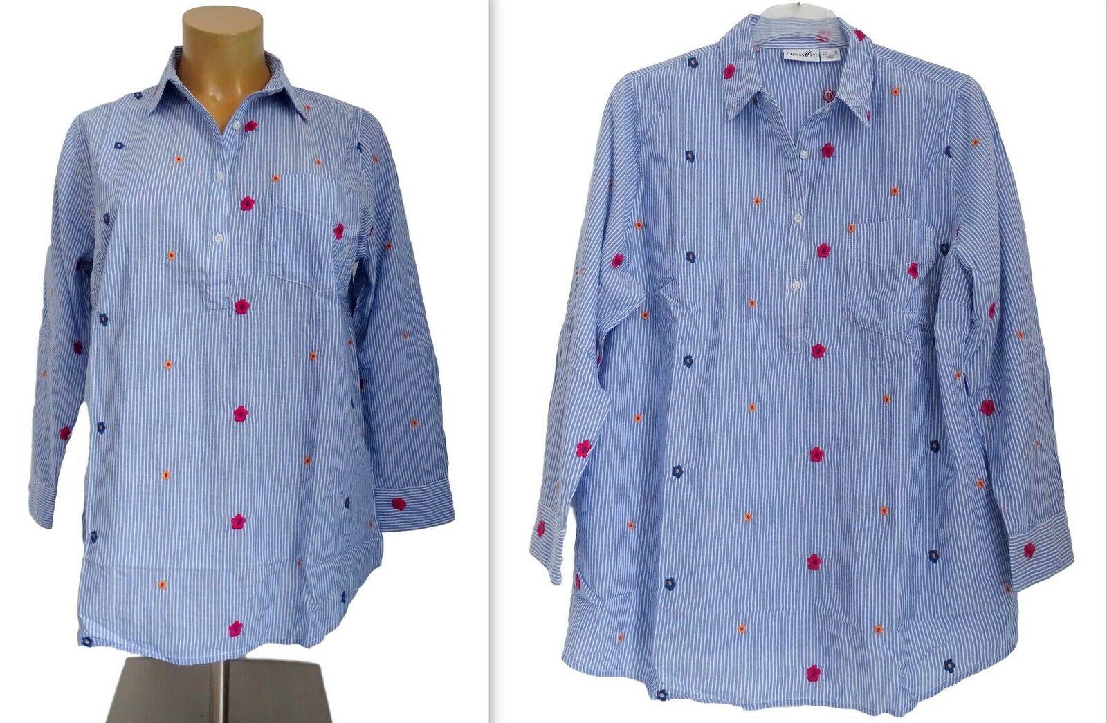 NEU Übergröße Damen Streifen Bluse blau weiß Blumenstickerei Unik Gr.48,50,52,54