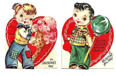 2 Original Valentine Cards 1960's or earlier Boy with Ice Cream Cone or Lollipop