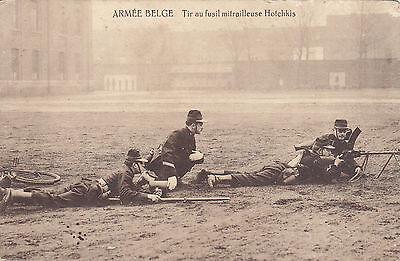 Feldpostkarte Armèe Belge. Tir au fusil mitrailleuse Hotchkis
