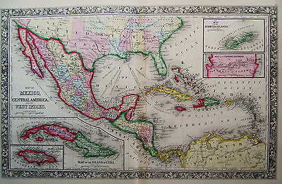 1860 Genuine Antique Map of Mexico, Central America & West Indies. A Mitchell