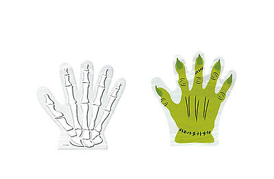 Zombie Trick Or Treat Bags (10 Halloween Hand  Shaped Trick or Treat Gift Bags Skeleton or Monster)