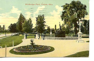 Pretty Flower Bed - Pretty Scenic View-Flower Bed-Walbridge Park-Toledo-Ohio-Vintage Postcard