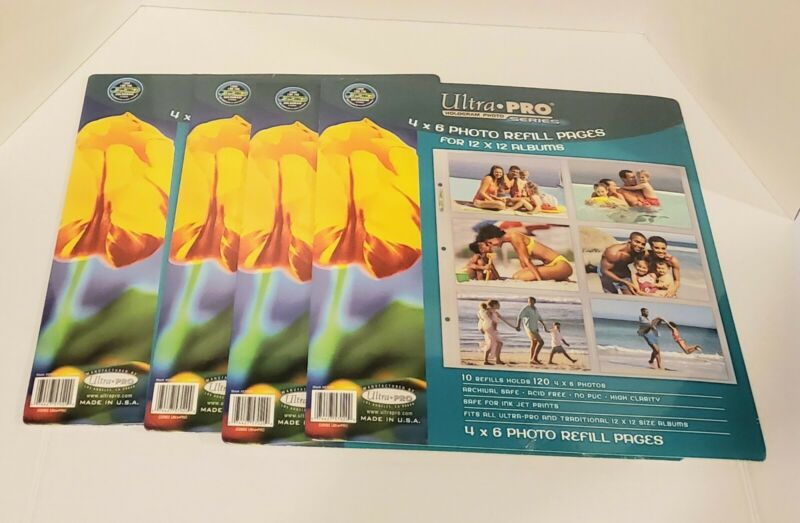 Ultra Pro Hologram Series 4x6 Photo Refill Pages Lot of 4 Packs For 12x12 Album