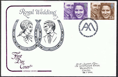 Princess Anne Mark Phillips 1st Day Cotswold Cover 1973 SG941 SG942 Westminster