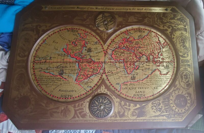 """1964 MASKETEERS LARGE 1628 WORLD MAP WALL HANGING - BRASS ON WOOD 43"""" X 30""""!"""