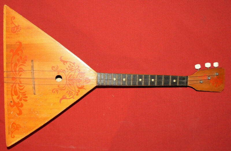 Vintage Soviet Russian Folk Wood Balalaika 3 Strings