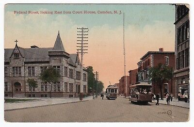 Camden Nj   Federal Street East From Court House   Postcard Trolley