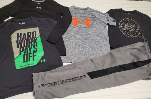 Lot  of 5 Under Armour Boys shirts & Sweat Pants Size Large 12-14