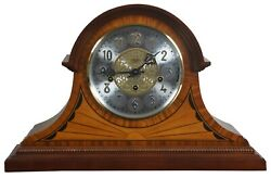 Sligh Bergen Cherry & Maple Marquetry Inlay Mantel Clock Westminster Chime 0593