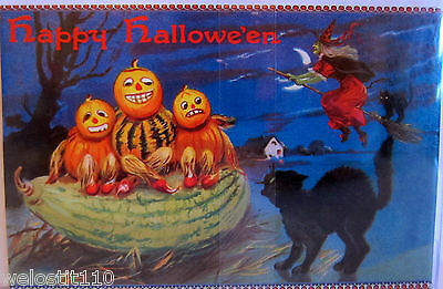 10 Punch Studio HALLOWEEN PUMPKIN KIDS IN WATERMELLON NOTE CARDS.    BEAUTIFUL!
