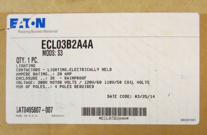 EATON CUTLER HAMMER ECL03B2A4A Lighting Contactor 3R Enclosure Mods: S3