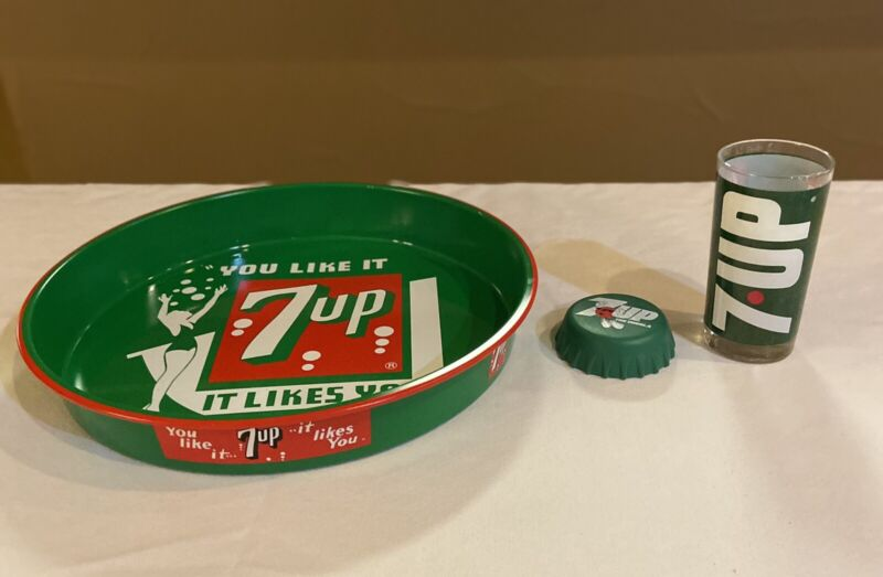 vintage 7-up Collector's Edition Tray, Glass And Paper Weight