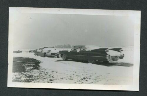 Vintage Photo 1959 Cadillac Convertible Car in Winter Snow 426132