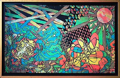 J.H. von Döhren Abstrakte farbige Komposition Öl 39 x 65, Telefonkarte zum Bild