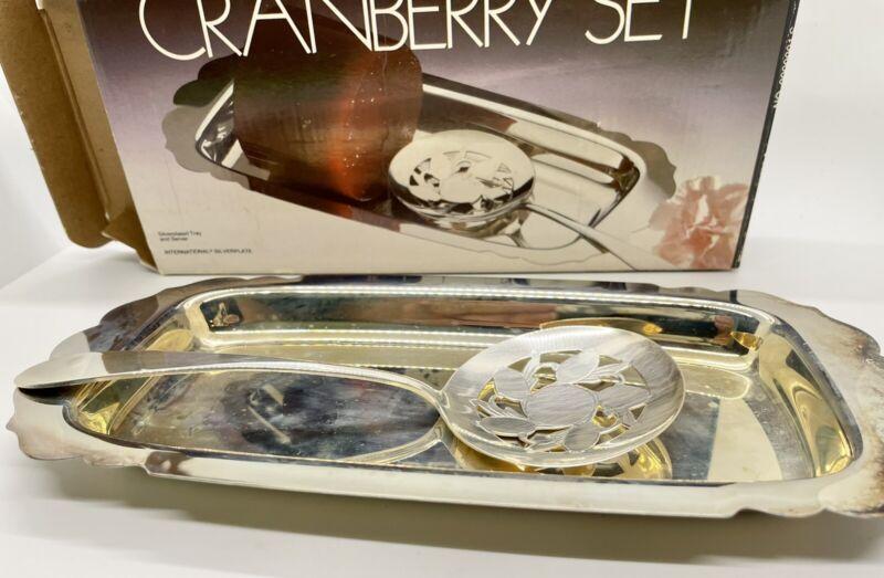International Silver -Silverplate Cranberry Set- Lifter & Tray- In Original Box