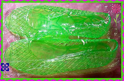 8 WOMENS PLASTIC Neon Green Well-designed Sandals Open Toe  Weave Flat SlipOn