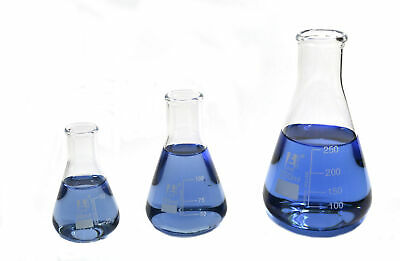 Erlenmeyer Flask Set 50ml 100ml 250ml Narrow Neck 3.3 Borosilicate Glass