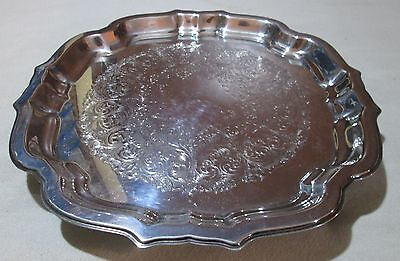 Scalloped Square Tray (Wm Rogers Silverplate Oneida 4 footed square scalloped tray 11 1/2