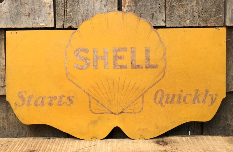 Vintage SHELL Starts Quick Motor Oil Gas Service Station Radiator Shield