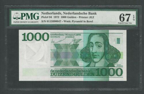 Netherlands, 1000 Gulden  1972 Pick-94 PMG 67 Superb Gem Unc