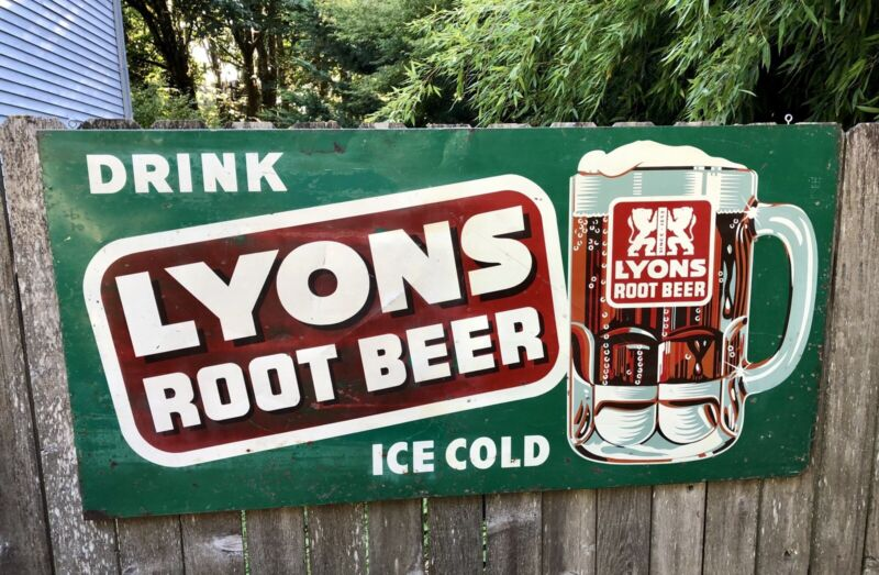 1950's Lyons Root Beer Sign - Large