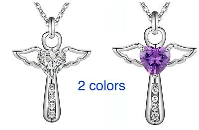 925 Sterling Silver CZ Cubic Crystal Angel Wing Heart Cross Pendant Necklace (Crystal Heart Angel Wing)
