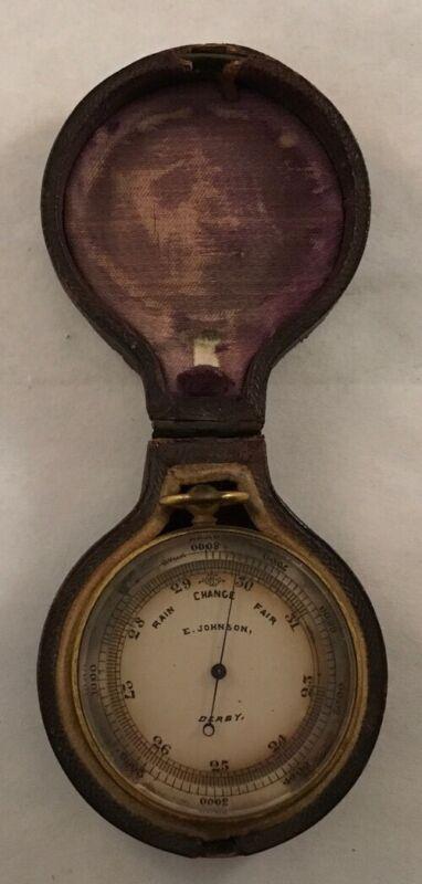 ANTIQUE 19TH CENTURY ENGLISH BRASS POCKET BAROMETER E. JOHNSON DERBY