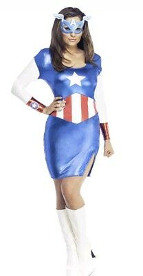 Captain America Dress Adult's Womens Secret Wishes Sexy Marvel Costume XS  NEW