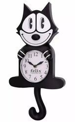 Felix The Cat Motion Wall Clock Pendulum Eyes Tail Swing Animated 3D Battery New
