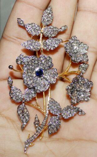 5.50ct ROSE CUT DIAMOND SAPPHIRE 925 STERLING SILVER VICTORIAN LOOK BROOCH PIN