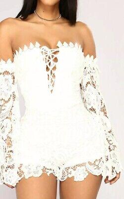Off the Shoulder Crochet Lace White Bodycon Sexy Coachella Short Romper Small (Coachella Romper)