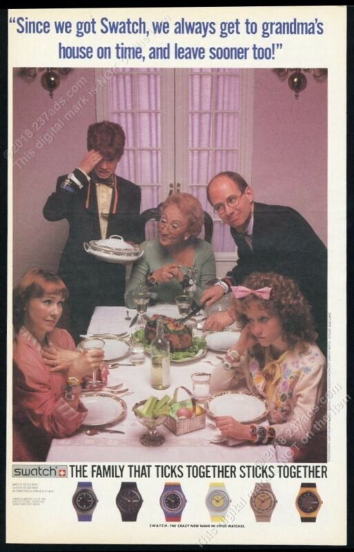 1985 Swatch Watch 6 watches photo Thanksgiving family BIG vintage print ad