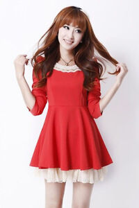 Q3FF1750 New Fashion Sweet Korean Slim Womens Peter pan collar Puff Lace Dress