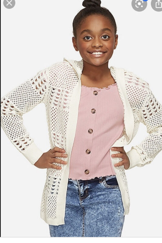 NWT JUSTICE GIRLS OPEN KNIT HOODED CARDIGAN Ivory  Size 8💜💜💜